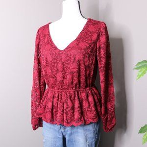 Maurices Long Sleeve Lace Blouse Peplum